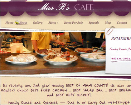 Miss B's Cafe Website